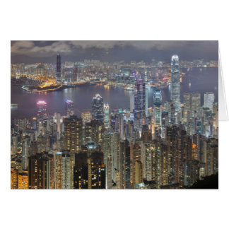 Hong Kong Night time skyline Greeting Card