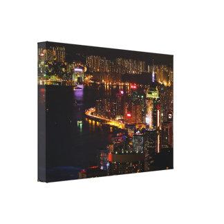 Hong Kong Nightscape Stretch Canvas Print