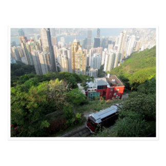 hong kong peak tram postcard
