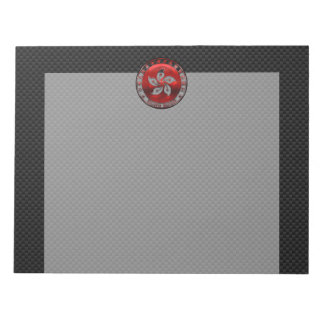 Hong Kong Ruby Orchid Inlay on Carbon Fiber Print Notepad