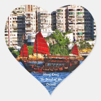 Hong Kong Sampan la perla del Oriente Pegatina En Forma De Corazón