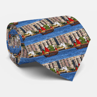 Hong Kong Sampan The Pearl of the Orient Neck Tie