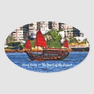 Hong Kong Sampan The Pearl of the Orient Oval Sticker