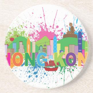 Hong Kong Skyline Abstract Color Illustratioon Drink Coaster