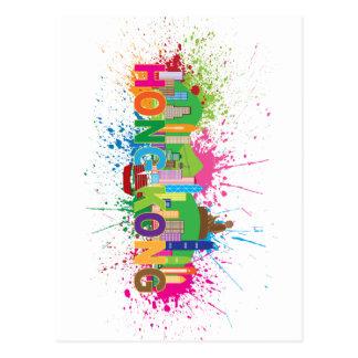 Hong Kong Skyline Abstract Color Illustratioon Postcard