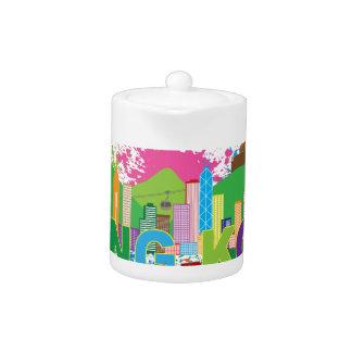Hong Kong Skyline Abstract Color Illustratioon Teapot