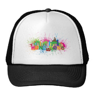 Hong Kong Skyline Abstract Color Illustratioon Trucker Hat