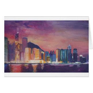Hong Kong Skyline At Night Card