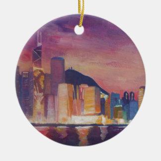 Hong Kong Skyline At Night Ceramic Ornament