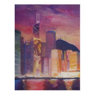 Hong Kong Skyline At Night Postcard