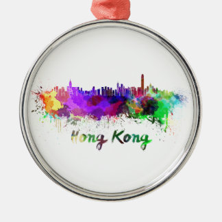 Hong Kong skyline in watercolor Metal Ornament
