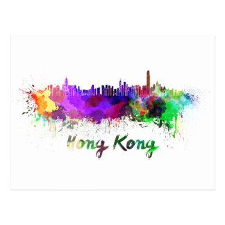 Hong Kong skyline in watercolor Postcard