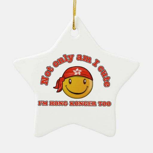 Hong Kong smiley flag designs Double-Sided Star Ceramic Christmas Ornament