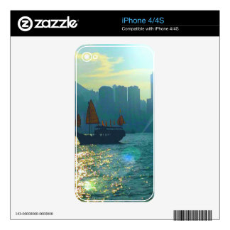 "Hong Kong Victoria Harbor Aqua tones ""junk"" iPhone 4 Decals"