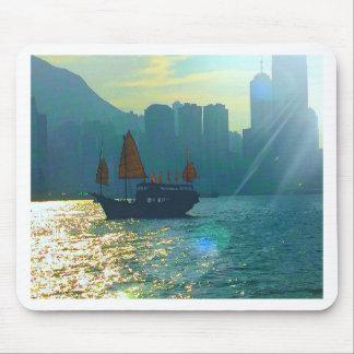 """Hong Kong Victoria Harbor Aqua tones """"junk"""" Mouse Pad"""