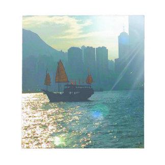 """Hong Kong Victoria Harbor Aqua tones """"junk"""" Notepad"""