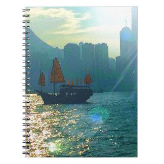 """Hong Kong Victoria Harbor Aqua tones """"junk"""" Spiral Notebook"""