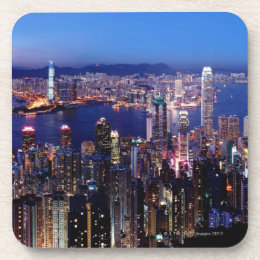 Hong Kong Victoria Harbor at Night Beverage Coaster