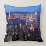 Hong Kong Victoria Harbor at Night Throw Pillows