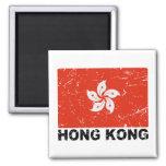 Hong Kong Vintage Flag 2 Inch Square Magnet