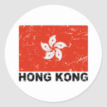 Hong Kong Vintage Flag Classic Round Sticker