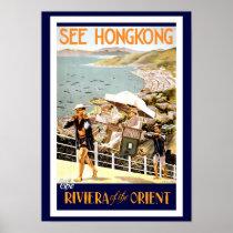 Hong Kong Vintage travel poster