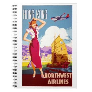 Hong Kong Vintage Travel Poster Restored Spiral Notebook