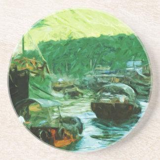 Hong Kong Water Taxis Abstract Impressionism Coaster