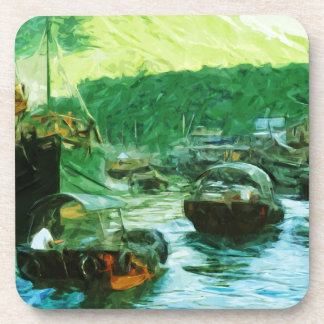 Hong Kong Water Taxis Abstract Impressionism Drink Coaster