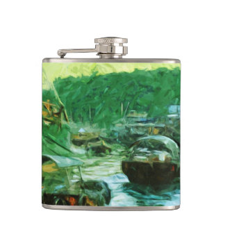Hong Kong Water Taxis Abstract Impressionism Flask