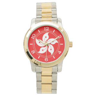 Hong Kong White Orchid Symbol Dial Wristwatch