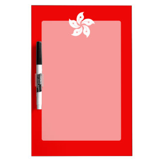 Hong Kong White Orchid Symbol on Red Dry Erase Board