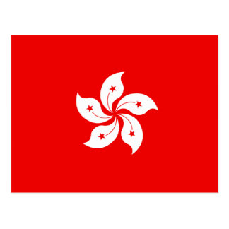 Hong Kong White Orchid Symbol on Red Postcard