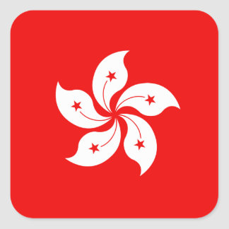 Hong Kong White Orchid Symbol Square Sticker