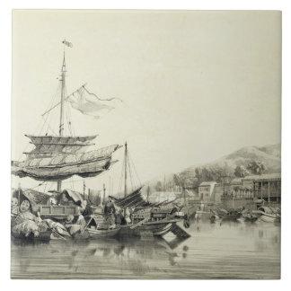 """Hong Shang, platea 17 de los """"bosquejos de China"""", Azulejo Cuadrado Grande"""