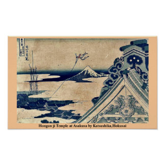 Hongan ji Temple at Asakusa by Katsushika,Hokusai Poster