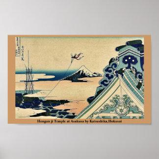 Hongan ji Temple at Asakusa by Katsushika,Hokusai Posters