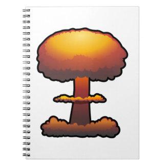 Hongo atómico anaranjado de la explosión libretas espirales