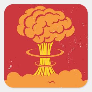 Hongo atómico del dibujo animado del vintage pegatina cuadrada