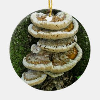 Hongos de estante en tocón ornamentos de navidad