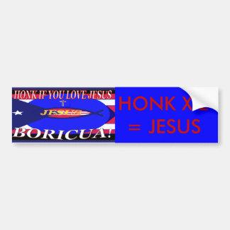 HONK 4 JESUS blueandred Bumper Sticker