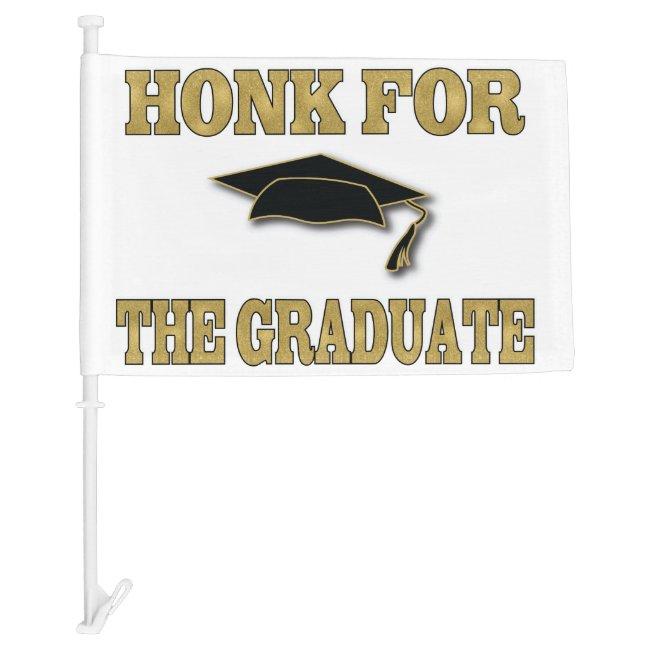 Honk Car Parade Black Gold Graduation Car Flag