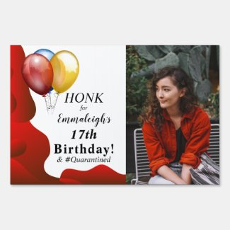 Honk For Birthday Red Photo Sign
