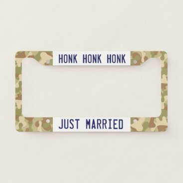 USA Themed Honk Honk Honk, Just Married! Camo Your License Plate Frame