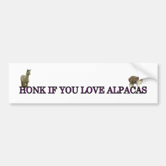 Honk if you love alpacas car bumper sticker