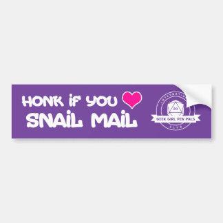 """Honk if you love snail mail"" Bumper Sticker"