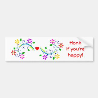 Honk if You're Happy Flowers and Cute Heart Bumper Sticker