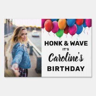 Honk & Wave Birthday Balloon Custom Photo Text Sign