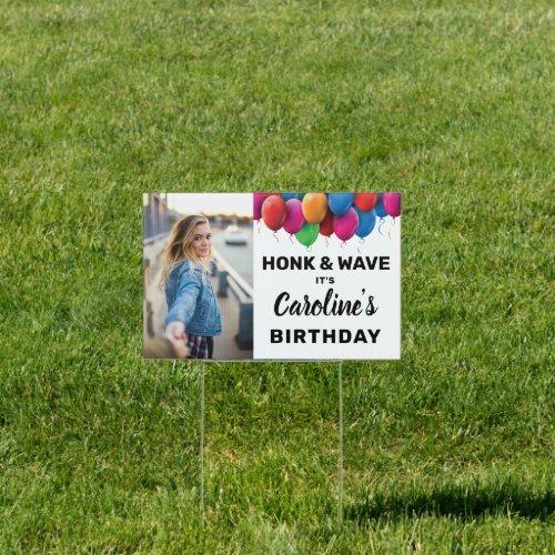 Honk  Wave Birthday Balloon Custom Photo Text Sign