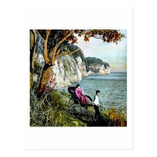 Honmoku Cliffs of Mississippi Bay Old Japan Geisha Postcard